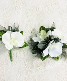 Phalaenopsis Wrist Corsage and Boutonniere