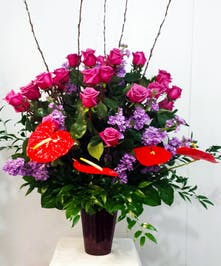Anthurium, Stock and Roses Arrangement