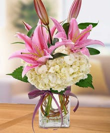 Pink Lily and Hydrangea Floral Arrangement