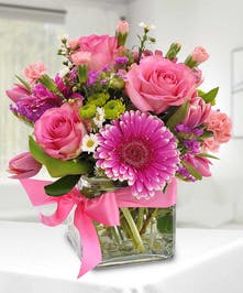 Pink Gerbera and Rose Arrangement