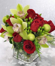 Holiday Orchids and Roses Floral Arrangement
