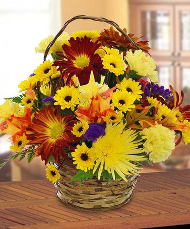Fall Daisy Basket Arrangement