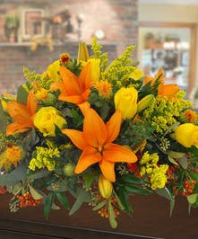Fall Lily and Rose Centerpiece