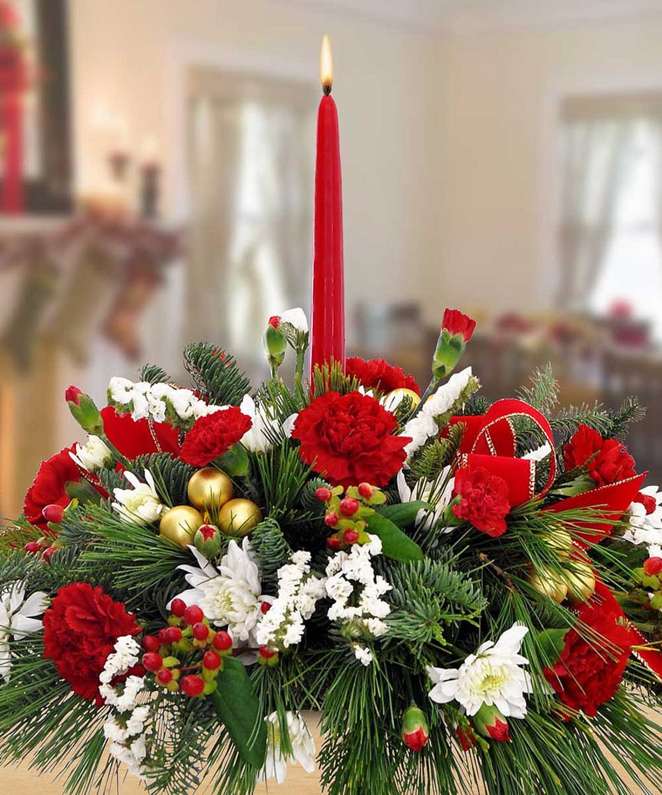 Carnation and Mum Single Candle Holiday Centerpiece