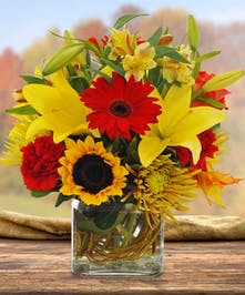 Sunflower, Lily and Gerbera Daisy Fall Arrangement