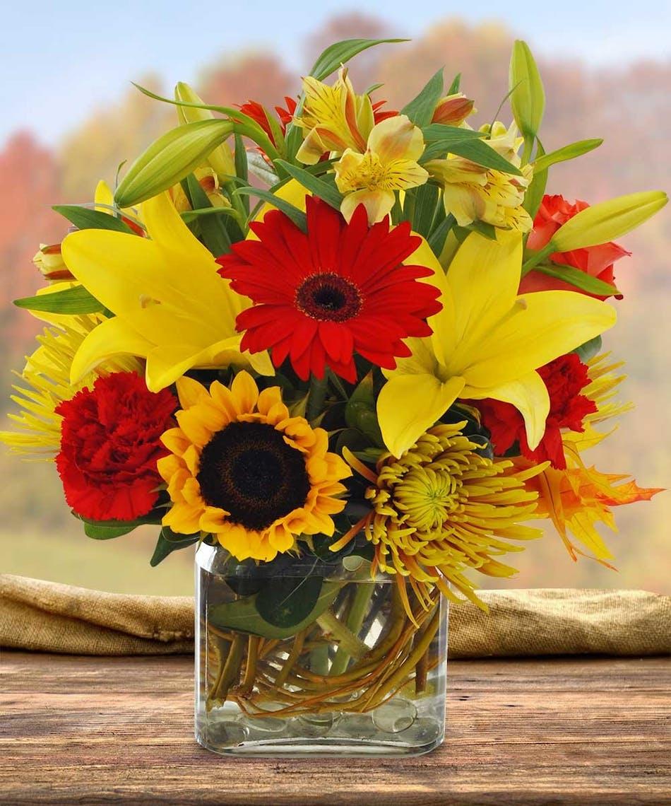 Sunflower, Lily and Gerbera Daisy Fall Arrangement