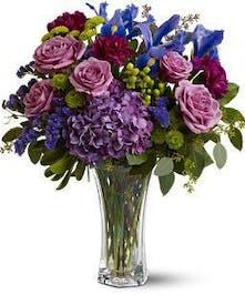 Purple Rose, Hydrangea and Iris Floral Arrangement
