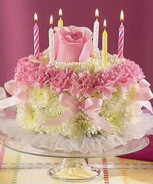 Rose, Carnation and Mum Birthday Cake
