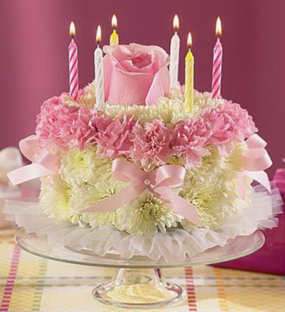 Birthday flower cake arrangement in minneapolis mn schaaf floral rose carnation and mum birthday cake izmirmasajfo