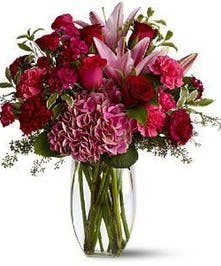 Rose, Lily and Hydrangea Burgundy Blush Arrangement