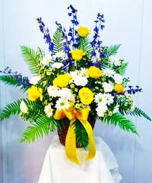 Yellow, White and Blue Traditional Style Piece