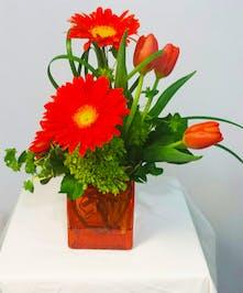 Orange Gerb and Tulip Arrangement