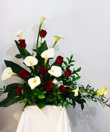 Red Rose and White Calla Lily Funeral Arrangement