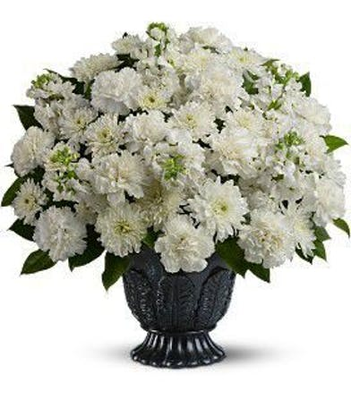 All White Daisy and Carnation Sympathy Arrangement