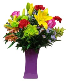 European Fields Mixed Floral Arrangement in Colored Vase