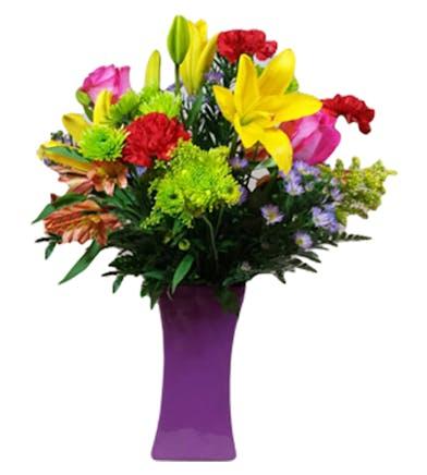 European Fields Mixed Floral Arrangement in Colored Vase