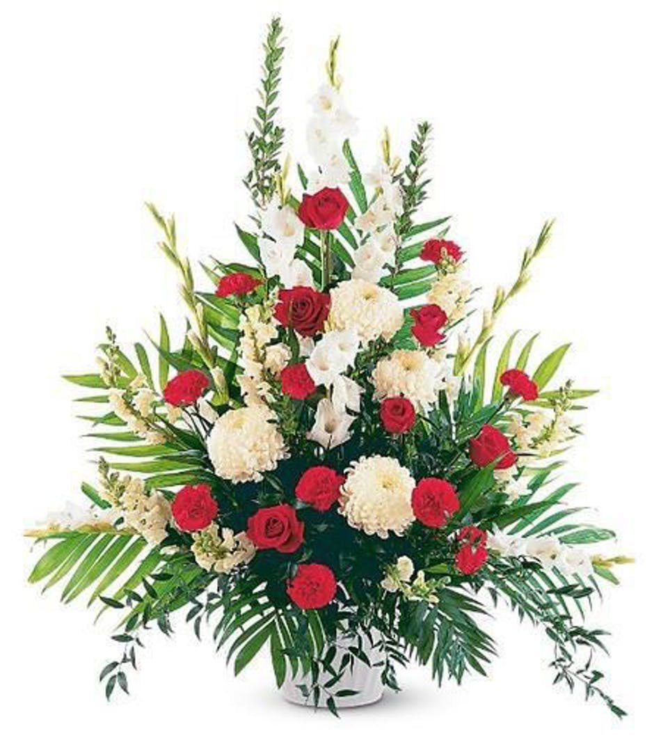 Designers Choice Red And White Funeral Arrangement In Minneapolis