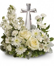 All White Crystal Cross Bouquet
