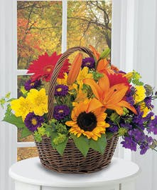 Fall Floral Basket Arrangement