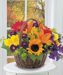 Fall Floral Basket Arrangement