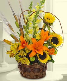 Beautiful Flowers accented with wheat