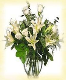 All White Rose and Lily Arrangement