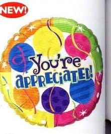 You're Appreciated Mylar Balloon