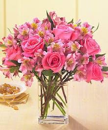 Pink Rose and Alstroemeria Floral Arrangement
