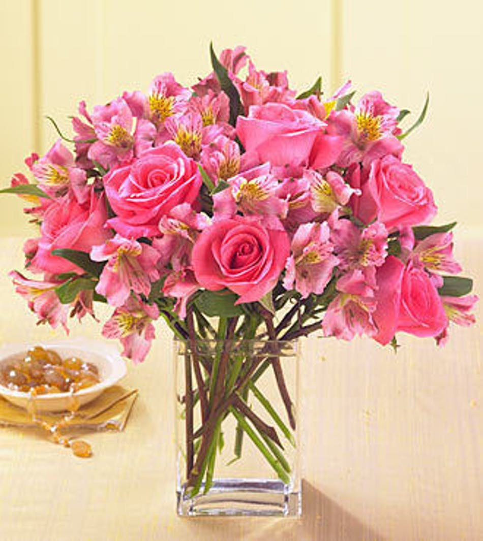 Pink Rose and Alstroemeria Floral Arrangement