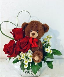 Valentine's Day Rose & Bear Gift bouquet