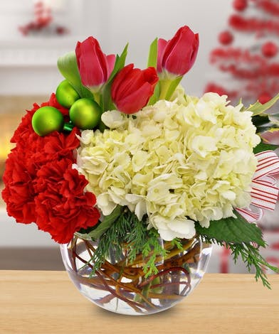 Hydrangea, Tulip, and Carnation Holiday Bowl Arrangement