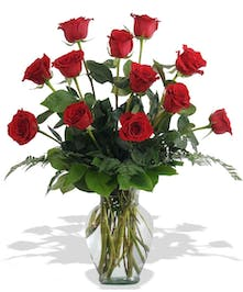 One dozen red roses presented in a classic vase.