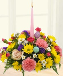 Colorful Daisy, Carnation and Rose Easter Centerpiece