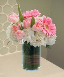 Pink Gerbera, Hydrangea and Tulip Arrangement