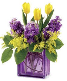 Spring Tulip and Stock Lavender Bouquet