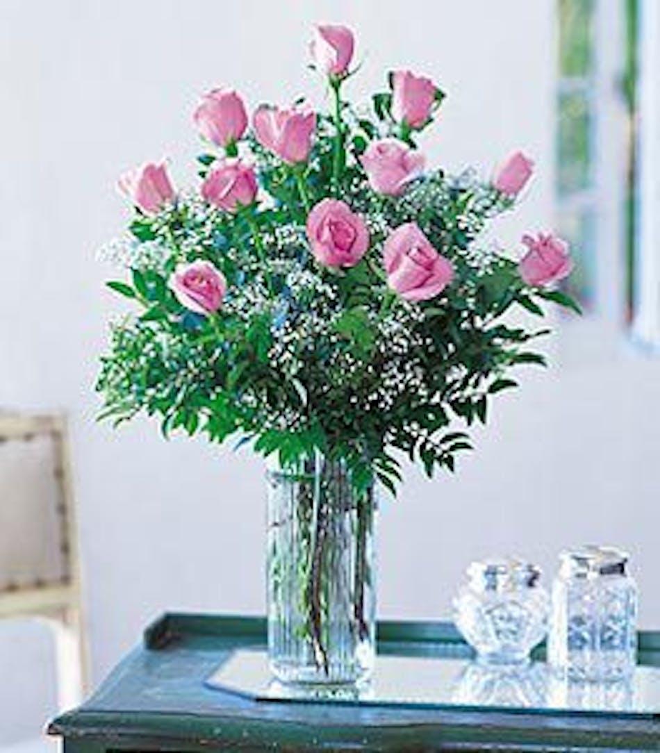 A Dozen Pink Roses Arranged In Minneapolis Mn Schaaf Floral
