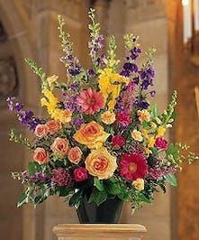 Assorted Floral Colorful Funeral Arrangement