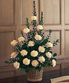 White Carnation Funeral Arrangement