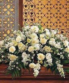 All White Funeral Casket Spray