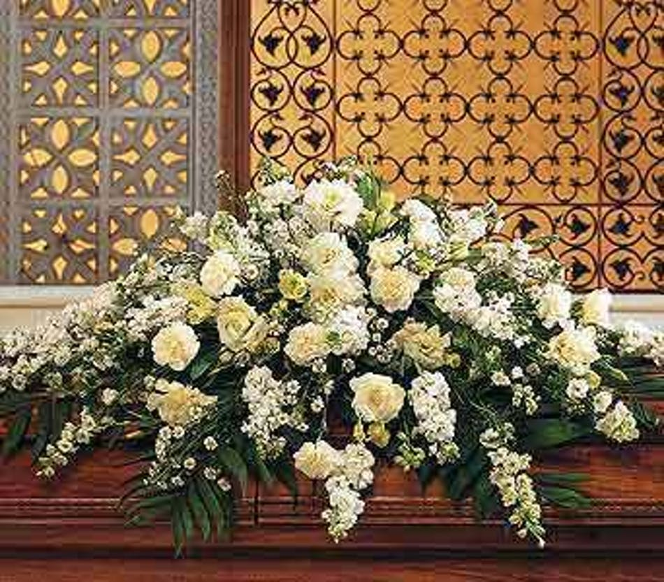 White beauty casket spray in minneapolis mn schaaf floral all white funeral casket spray izmirmasajfo