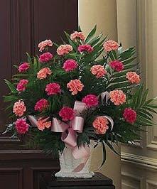 All Pink Carnation Funeral Arrangement