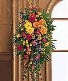 Mixed Colorful Funeral Easel Spray