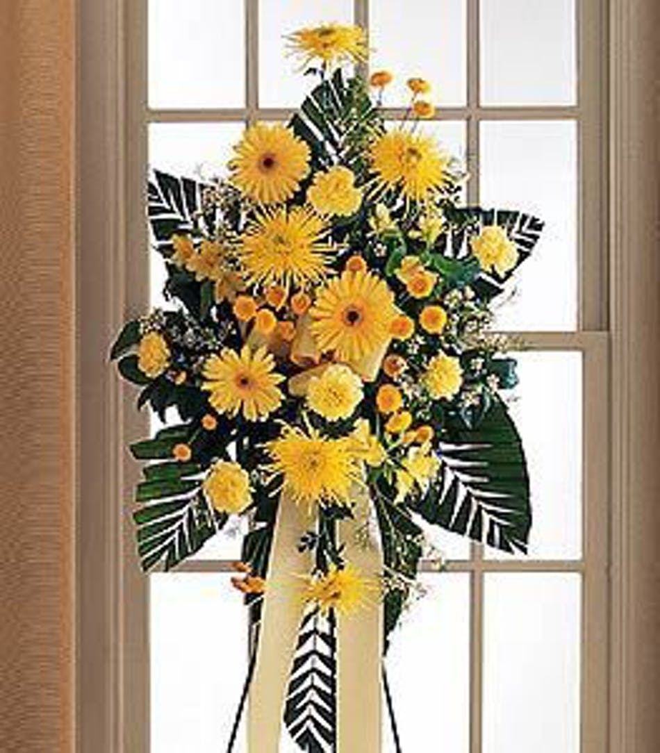Brighter Blessings Yellow Spray Funeral Arrangement In Minneapolis