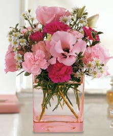 Pink Dawn Lisianthus and Carnation Arrangement