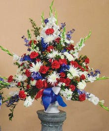 Red, White and Blue Funeral Arrangement
