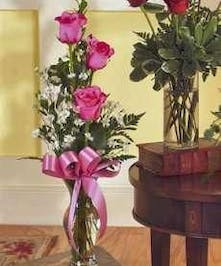 Three Pink Roses Arranged