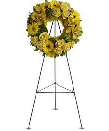 All Yellow Wreath Easel Spray