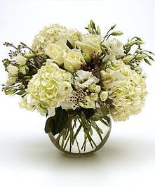 White Rose and Hydrangea Floral Arrangement