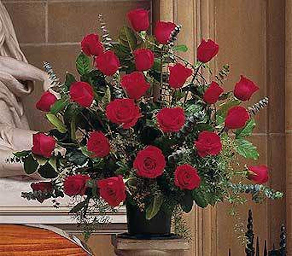 Blooming Red Roses Funeral Arrangement in Minneapolis, MN - Schaaf ...