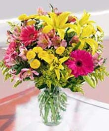 Pink and Yellow European Floral Arrangement